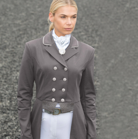 This jersey deluze horseback riding jacket for dressage competition wear. This is a great horseback riding show jacket for the fashionable horseback riders.