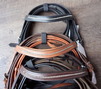 Warehouse sale bridles for the horseback rider on a budget.