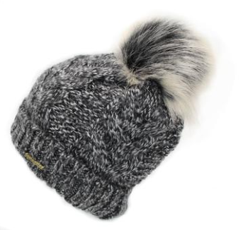 Springstar Yvi pompom winter horseback riding hat for all horseback riders. This cute faux fur pompom winter toque.