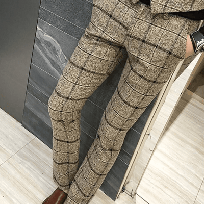 Slim fit office plaid pant