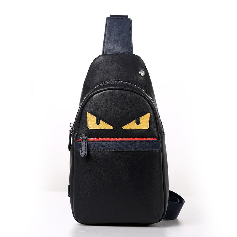 Eyes Black Genuine Leather shoulder pack