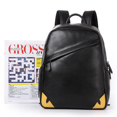 Eyes Black Genuine Leather Backpack