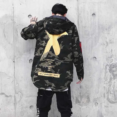 """X"" Camo Windbreaker Jacket"