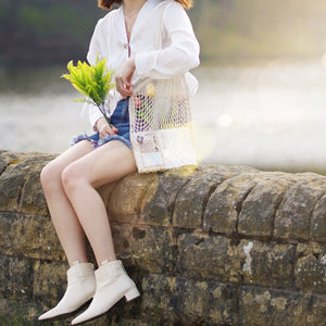 via lia tote bag, net bag of summer accessories