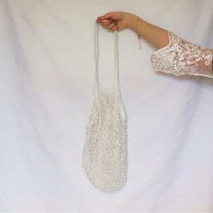 over the shoulder bag, net bag white with long handle