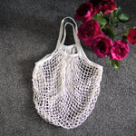 via lia shopper net bag white with short handle