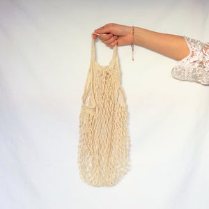 large tote bag, mesh bag cream with short handle