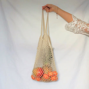 tote shopper bag, net bag cream with long handle