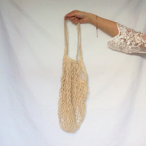 over the shoulder bag, string bag cream with long handle
