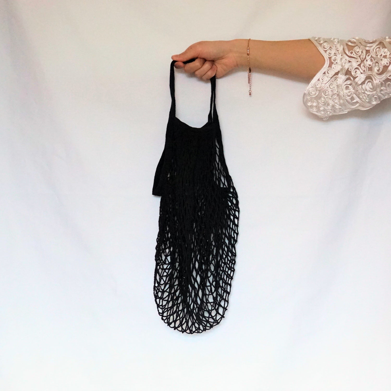 lena shoulder bag, mesh bag black with short handle