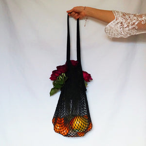 lena beach bag, net bag black with long handle