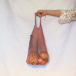 large tote bag, mesh bag pink with short handle