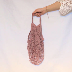 tote shopper bag, net bag pink with short handle