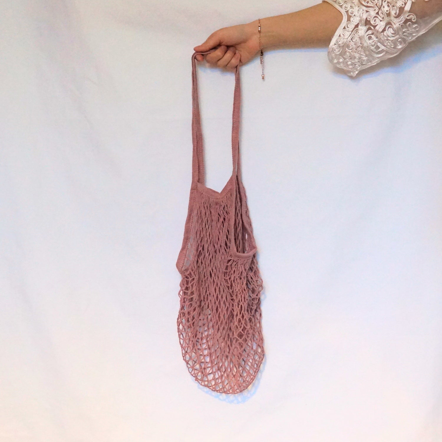 shoulder bags for women, mesh bag pink with long handle