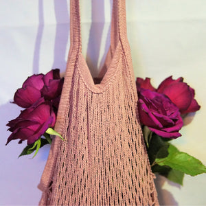 lena shopper string bag pink with long handle details