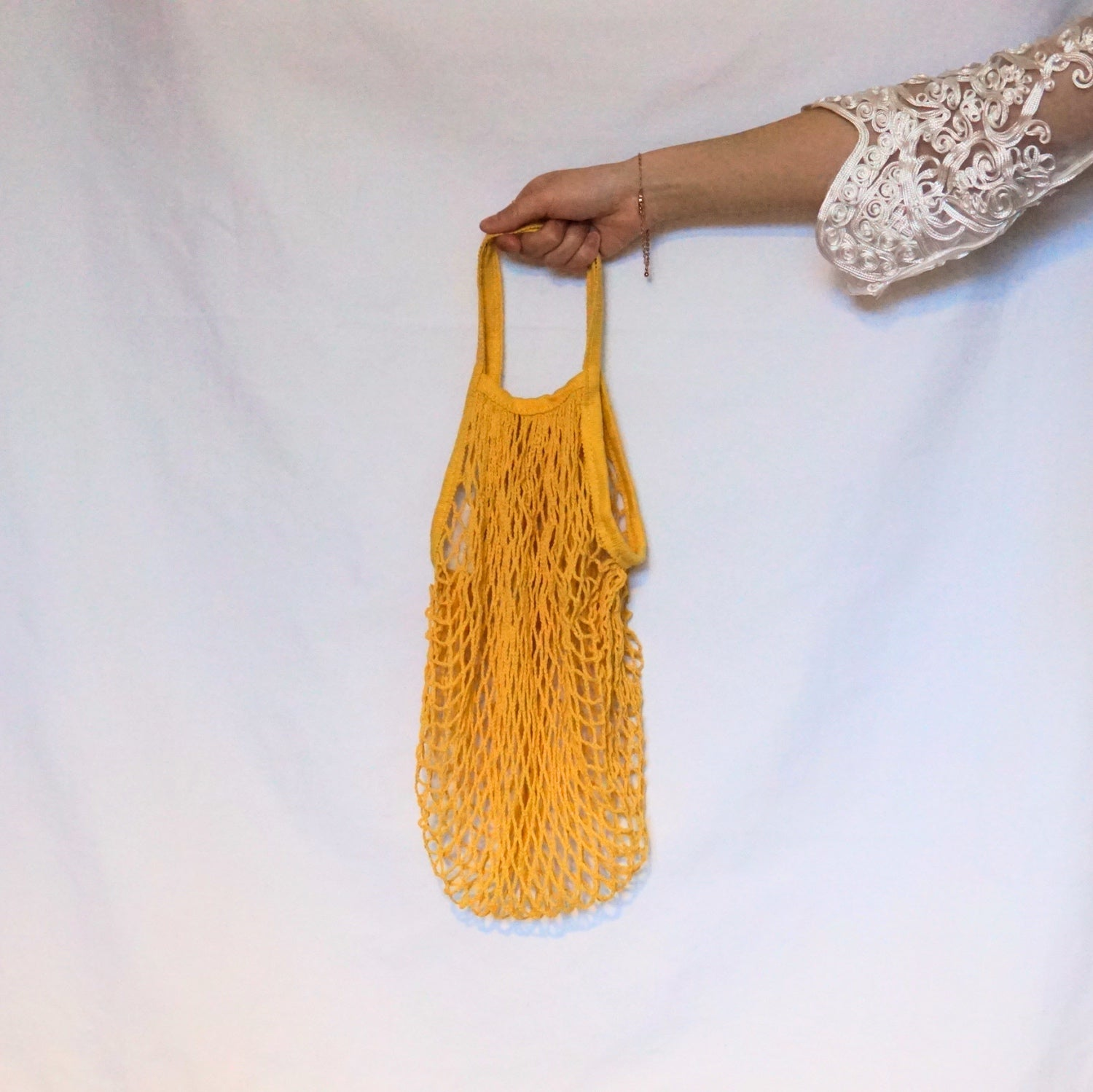 lena beach bag, net bag yellow with short handle