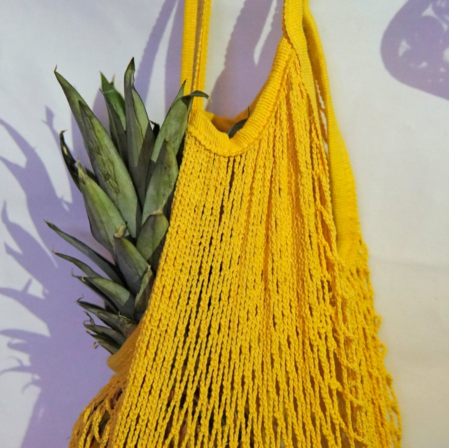 large tote bag, net bag yellow with short handle