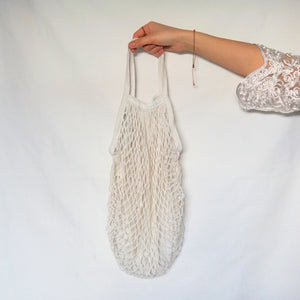 large tote bag, string bag white with short-handle
