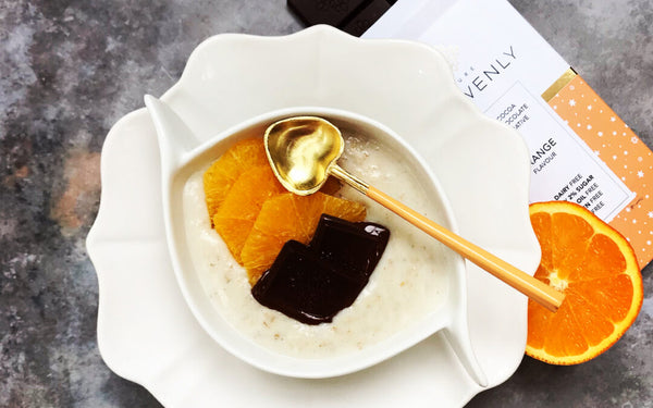 BREAKFAST PORRIDGE WITH PURE HEAVENLY ORANGE CHOCOLATE