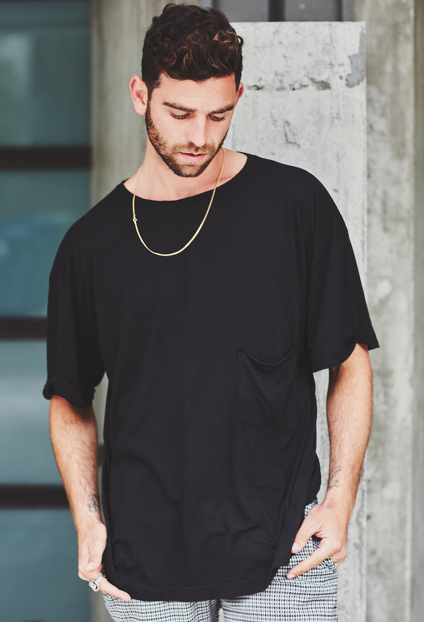 c1209fb2d ... Oversized Cuffed Pocket T Black Pre Order Unisex Shirts ...
