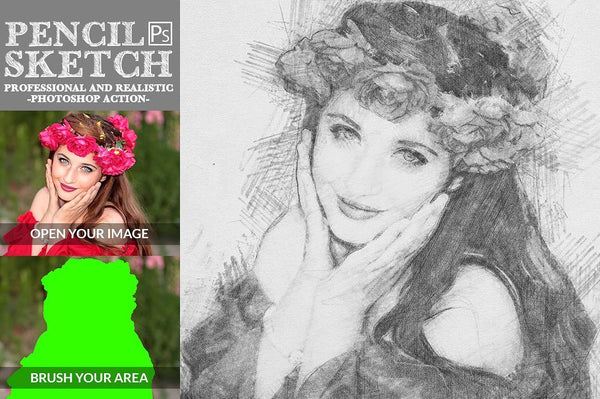 pencil sketch photoshop action - buzzaart
