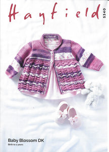 5340 Hayfield Baby Blossom DK Baby Matinee Coat knitting pattern
