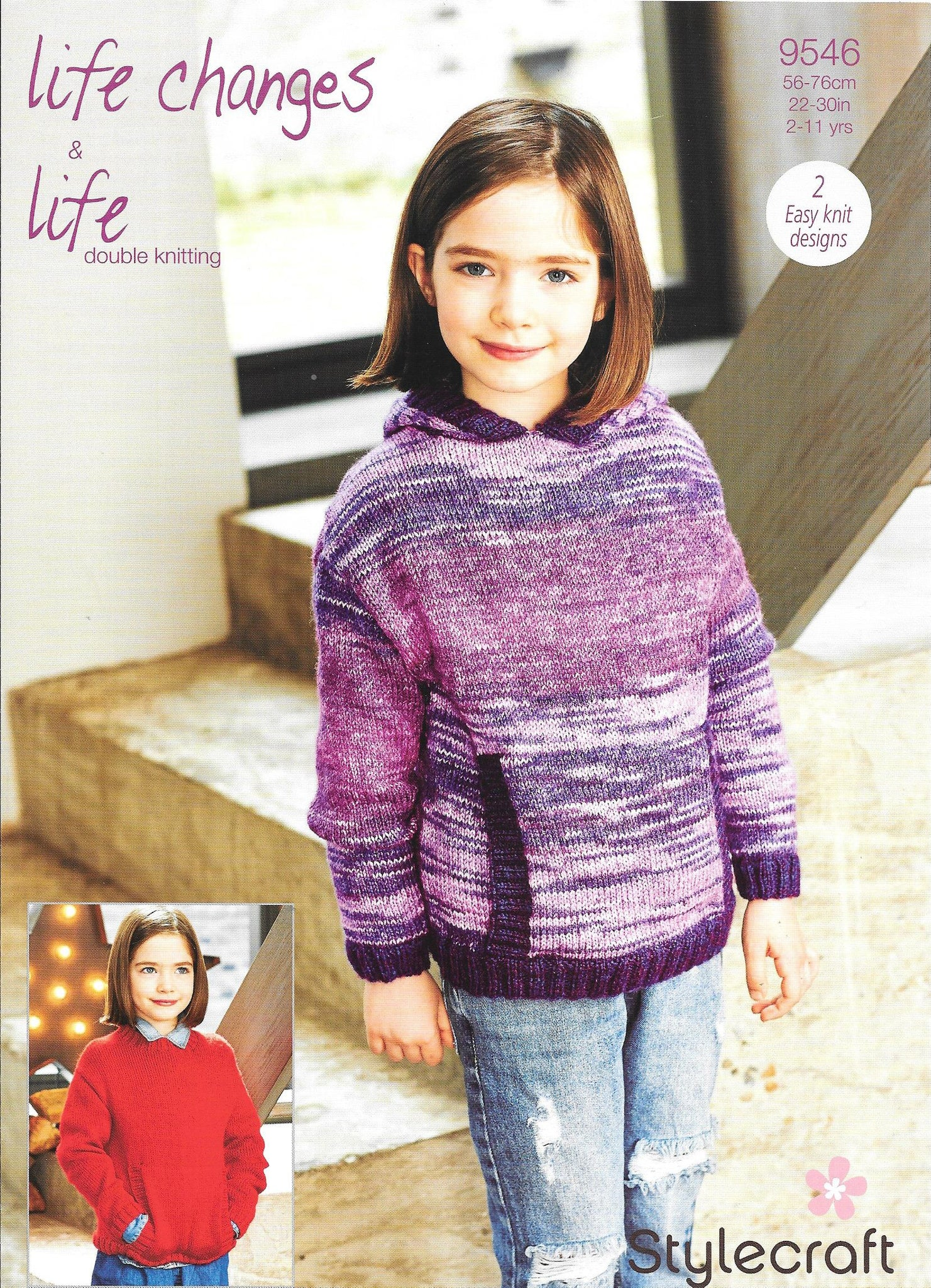 9546 Stylecraft life changes and life dk girl sweaters round neck and hood knitting Pattern