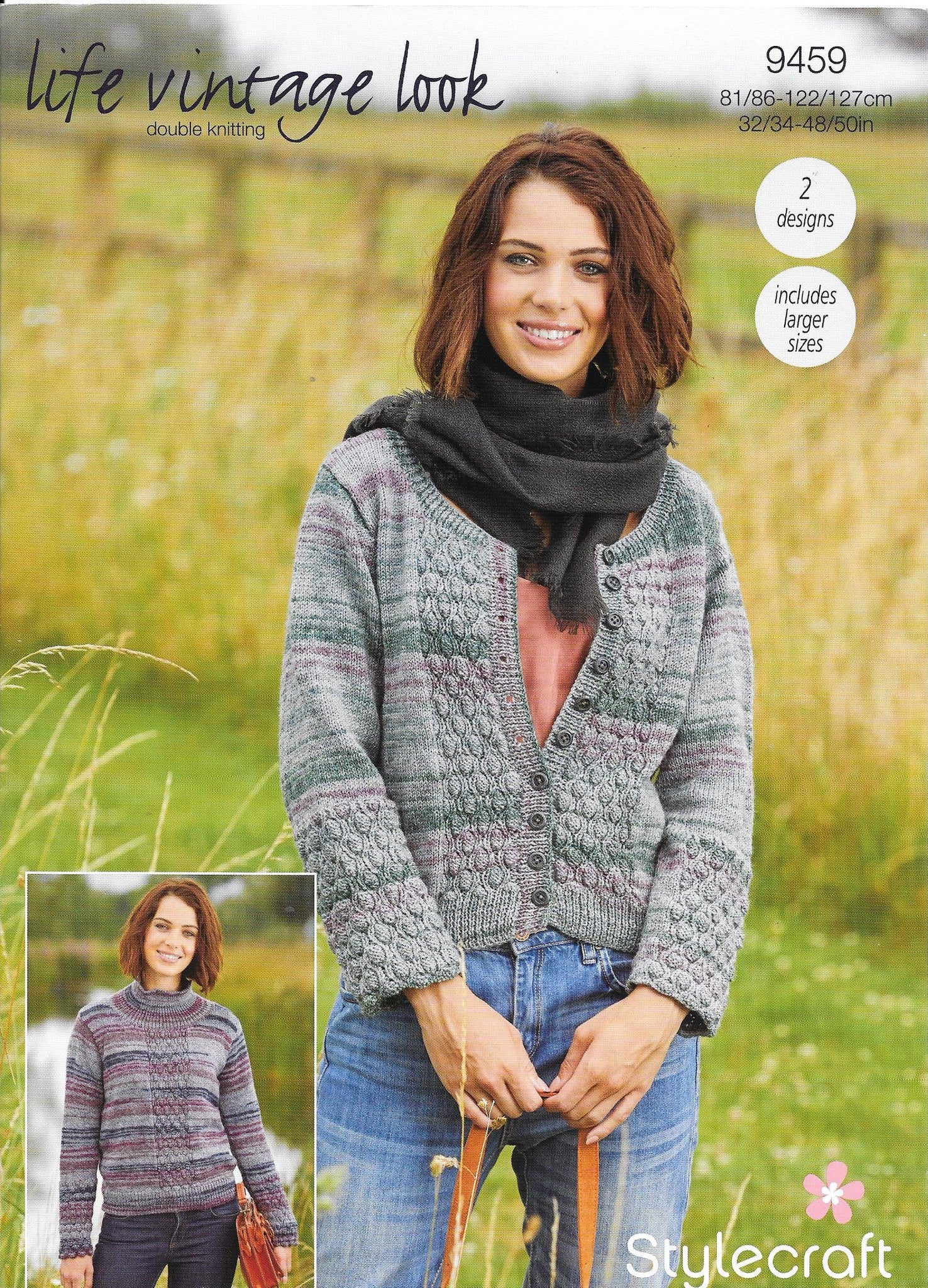 9459 Stylecraft Life Vintage dk ladies jumper and cardigan knitting pattern