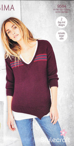 9584 Stylecraft Bellissima dk ladies jumpers knitting pattern