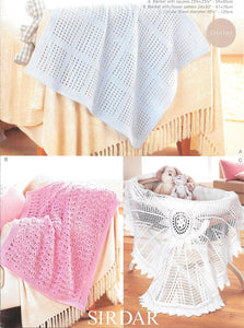 1299 Sirdar Snuggly DK Pattern for Baby Blankets and Shawls crochet pattern