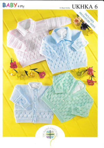 6 UKHKA Baby Cardigans in 4ply knitting pattern