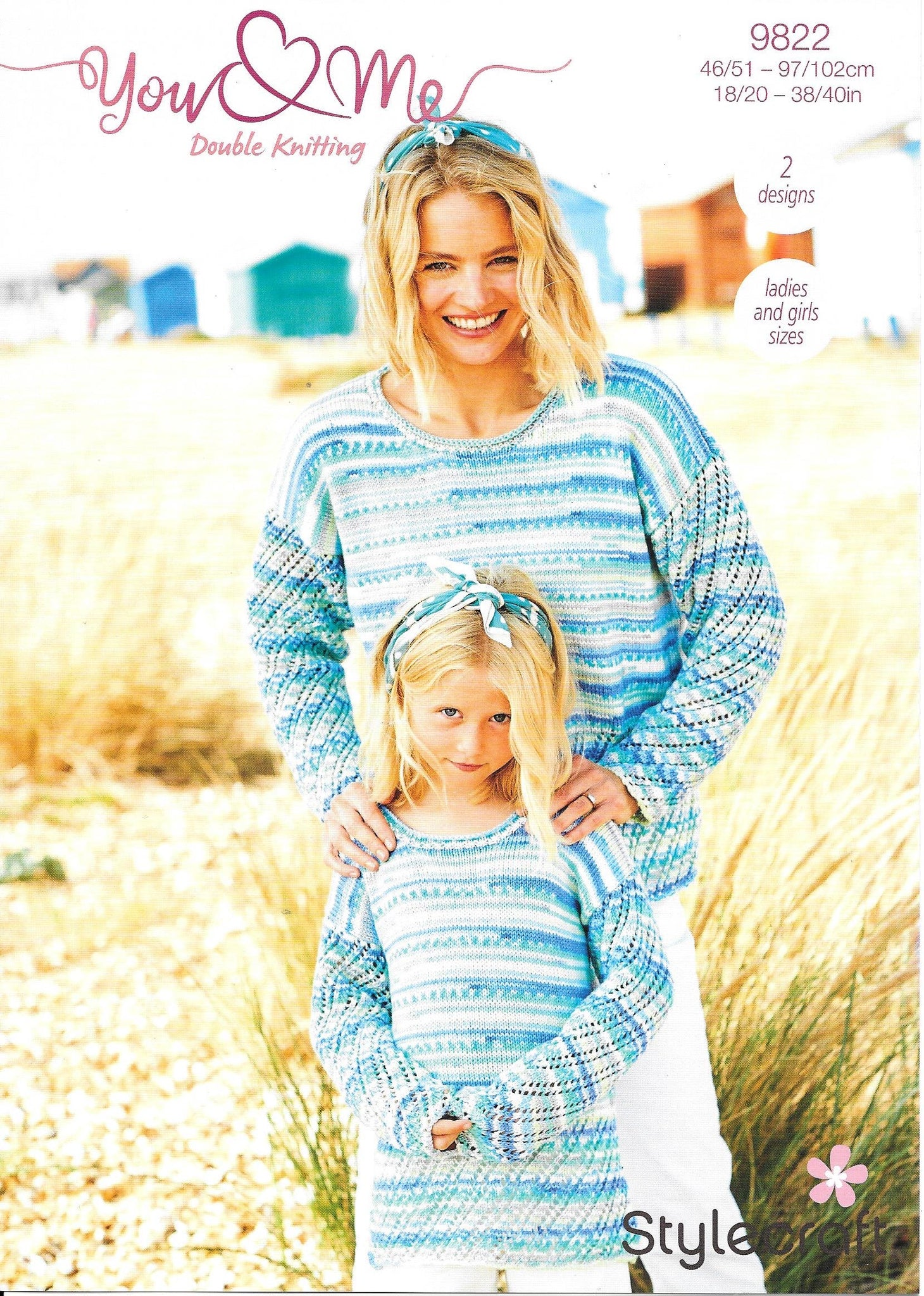 9822 Stylecraft You & Me dk lady child cardigan and sweater knitting pattern