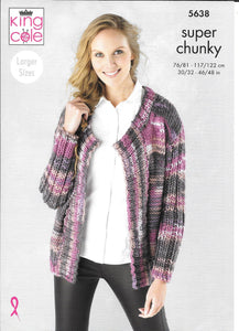 5638 King Cole Quartz Super Chunky ladies cardigan and sweater knitting pattern