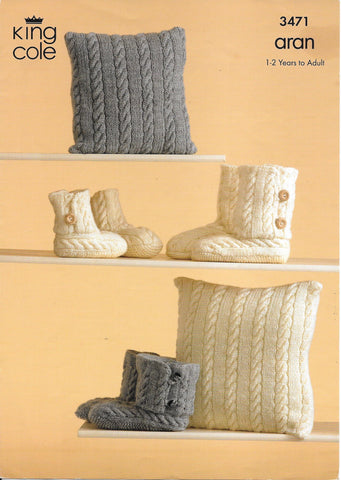 3471 King Cole fashion Aran cushion and slippers knitting pattern