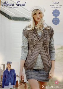 9451 Stylecraft Alpaca Tweed dk ladies sweater and slipover knitting pattern