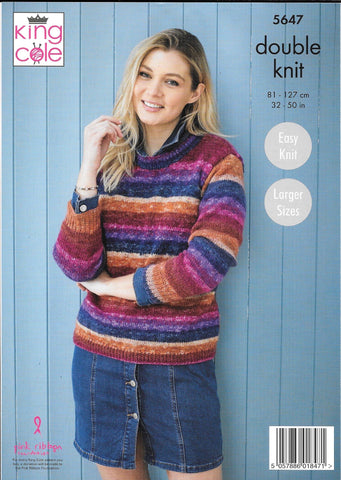 5647 King Cole Bramble dk ladies sweaters knitting pattern
