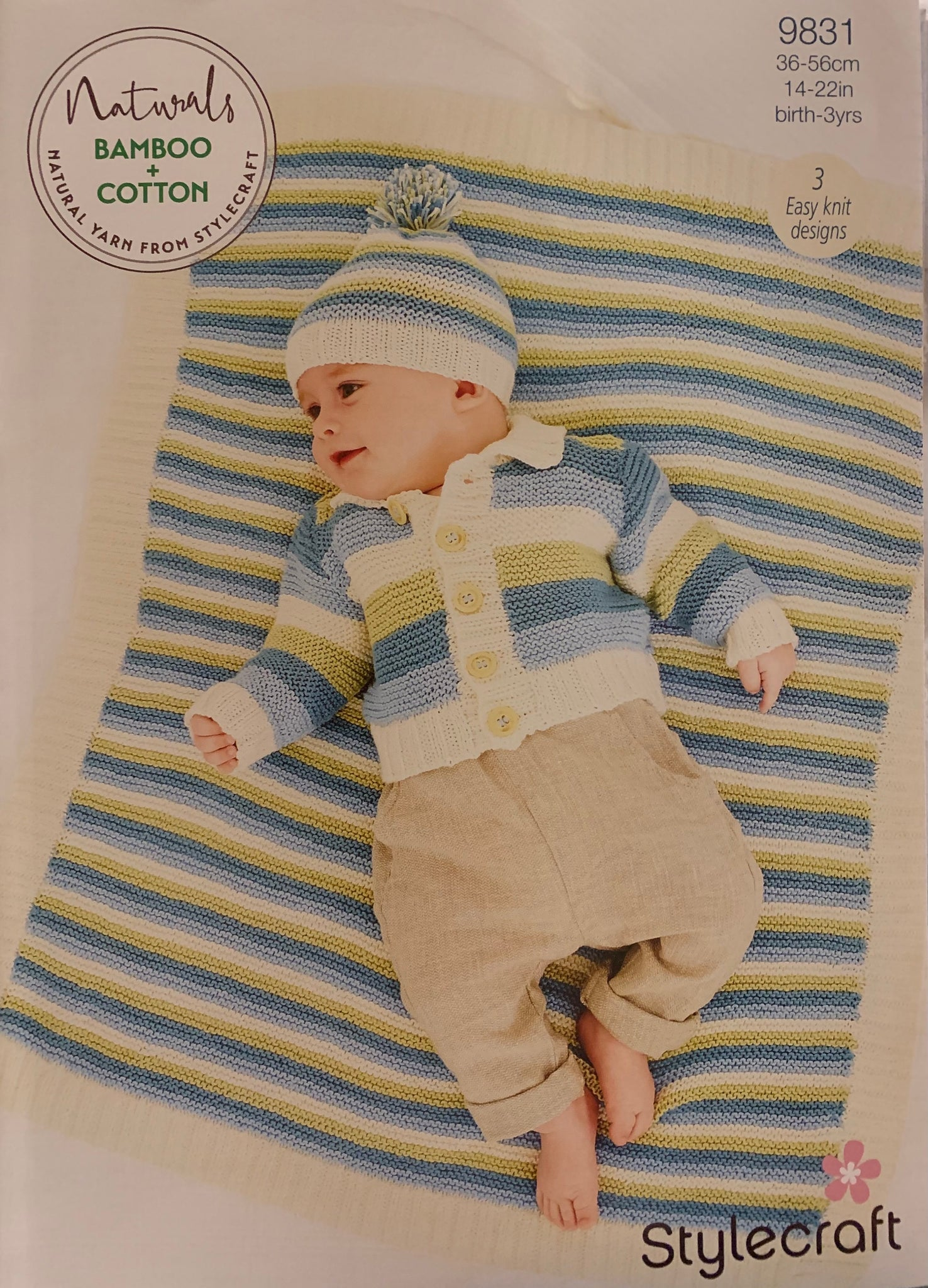 9831 Stylecraft Naturals bamboo and cotton baby jacket, hat and blanket knitting pattern