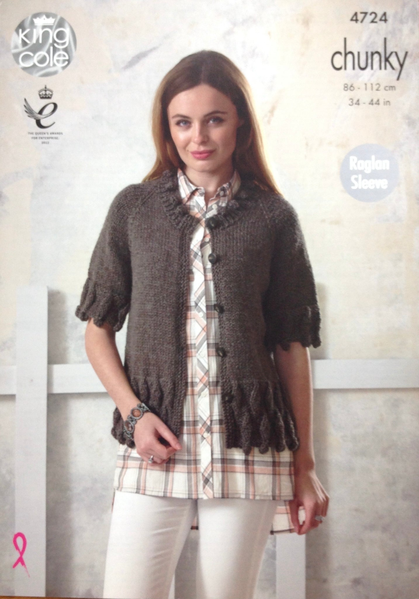 4724 King Cole chunky ladies tunic and cardigan knitting pattern