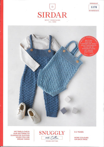5378 Sirdar Snuggly 100% Cotton dk baby child all-in-one and romper knitting pattern