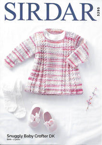 5295 Sirdar Snuggly Baby Crofter dk baby top knitting pattern