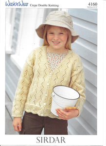 4160 Sirdar wash 'n' wear crepe dk child cardigan knitting pattern
