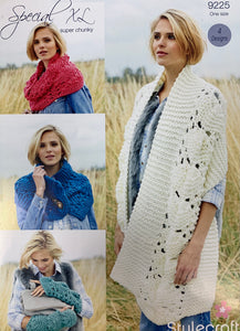 9225 Stylecraft Special XL super chunky ladies scarf, snood, mitts and button scarf knitting pattern