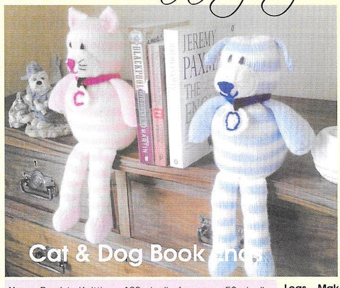 112 KBP112 Cat and Dog Book Ends in dk knitting pattern