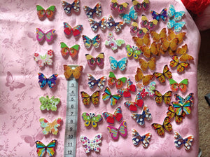 Large Wooden Butterfly Buttons