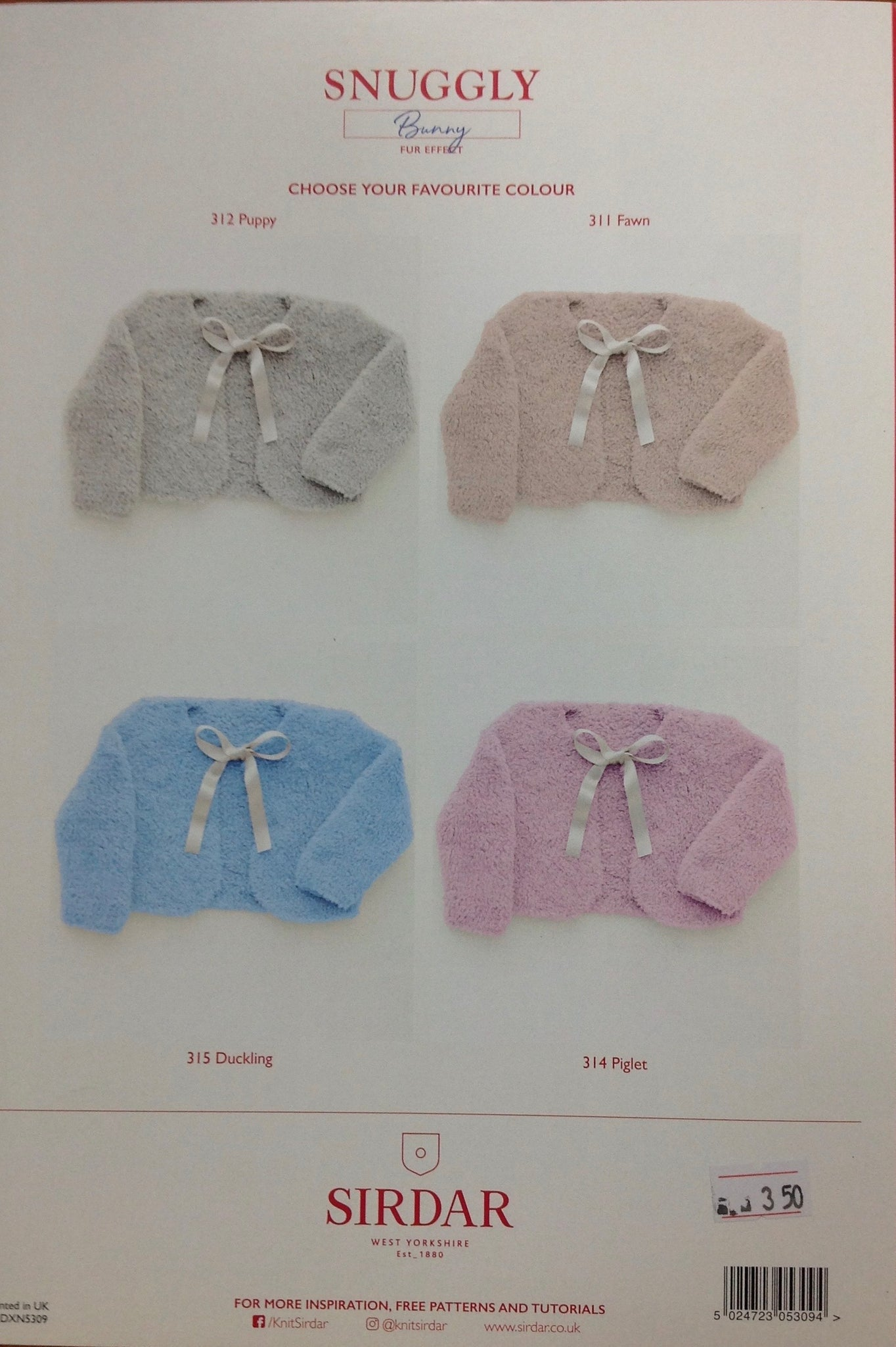 5309 Sirdar Bunny fur effect baby Snuggly bolero knitting pattern