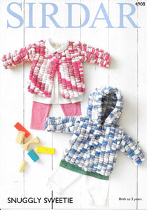 4908 Sirdar Snuggly Sweetie baby cardigans knitting pattern