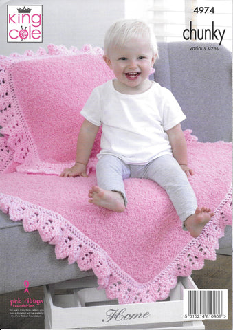 4974 King Cole Cuddles and Comfort chunky pram and cot blankets, cushion and hat, scarf and mittens knitting pattern