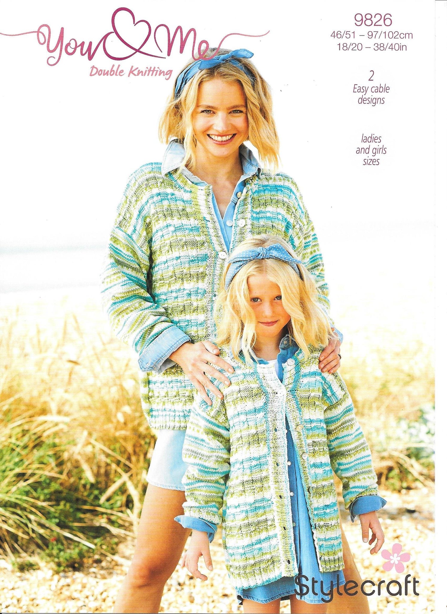 9826 Stylecraft You & Me dk lady and girl cardigan and sweater knitting pattern