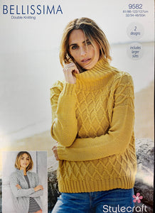 9582 Stylecraft Bellissima dk ladies sweater and jacket knitting pattern