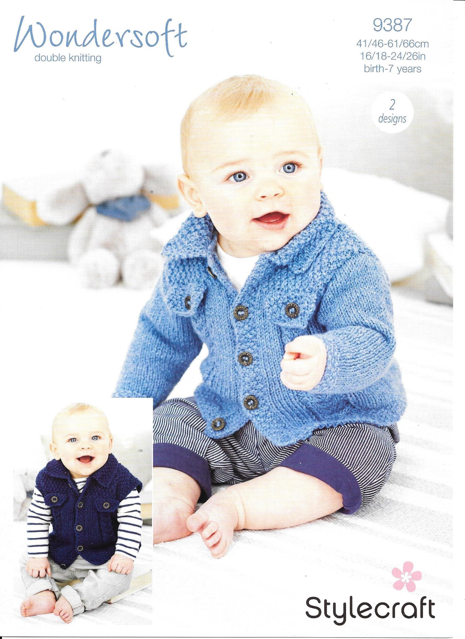 9387 Stylecraft Wondersoft dk baby childcardigan and waistcoat knitting pattern